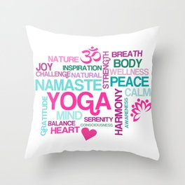 Benefits of Yoga Throw Pillow