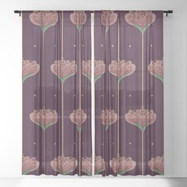 Wallpaper Floral Pattern In Style OF William Morris Sheer Curtain