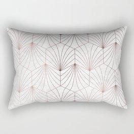 Hexagonal Leaves of Rose Gold on White Marble Rectangular Pillow
