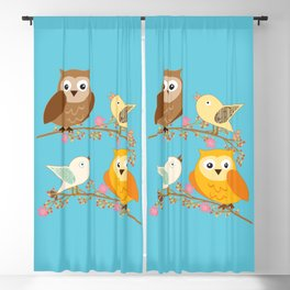 Birds and owls Blackout Curtain