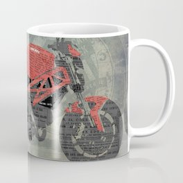 Red motorcycle newspaper collage, now is the time, original abstract artwork Coffee Mug