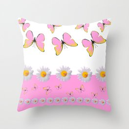 MODERN ART PINK BUTTERFLIES & WHITE DAISIES Throw Pillow