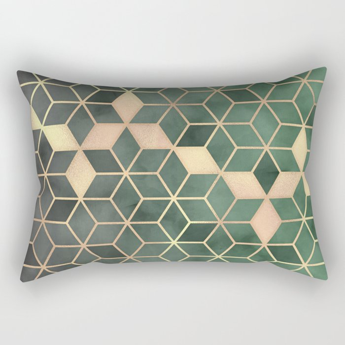 Gold Emerald green Gradient Cube Art print Rectangular Pillow