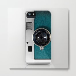 Classic retro Blue Teal Leather silver Germany vintage camera iPhone 4 4s 5 5c, ipod, ipad case Metal Print