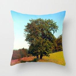 Old tree, vibrant surroundings Throw Pillow