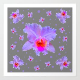GREY ART TROPICAL LILAC CATTLEYA ORCHID FLOWERS Art Print
