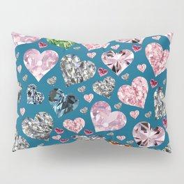 Heart Diamonds are Forever Love Blue Pillow Sham