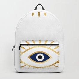 evil eye times 3 navy on white Backpack