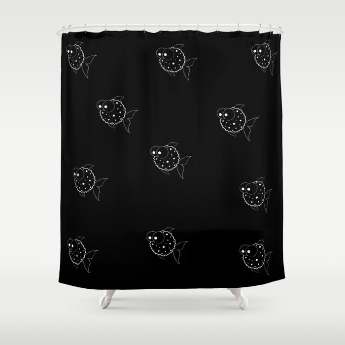 Black Balloon Fish Shower Curtain