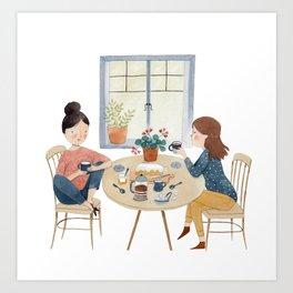 A Friendly Chat Art Print