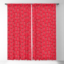 floor of gifts - cheerful christmas red pattern Blackout Curtain