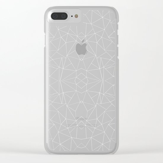 Abstract Collide Outline White on Black Clear iPhone Case