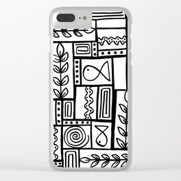 Fishes Seaweeds and Shells - Black and White Clear iPhone Case