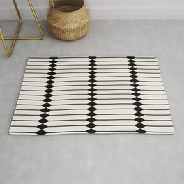 Minimal Geometric Pattern - Black Rug