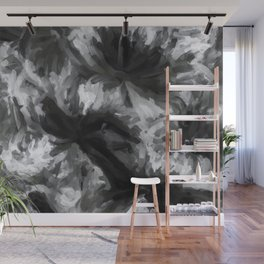 black and white abstract painting texture background Wall Mural