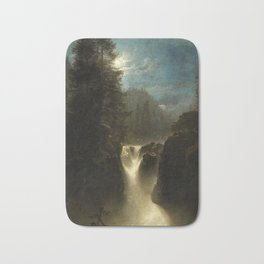 Waterfall in the Italian Countryside by Oswald Achenbach Bath Mat