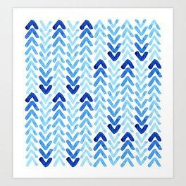 Blue Watercolour Arrows Art Print