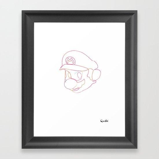 One line Supermario Framed Art Print