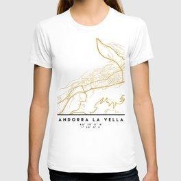 ANDORRA LA VELLA CITY STREET MAP ART T-shirt