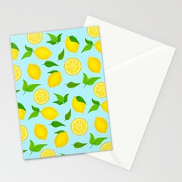 Summer Lemons Pattern - Yellow and Pastel Blue Palette Stationery Cards