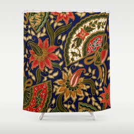 Indonesian Batik Floral Pattern With Fans Shower Curtain