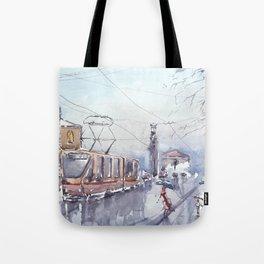 Rain in city Tote Bag
