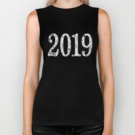 black&white patterned number 2019 Biker Tank