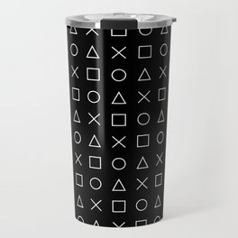 gamer pattern black and white  - gaming design black Travel Mug