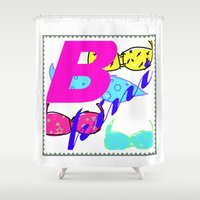 bikini Shower Curtains featuring bikini by Mike van der Hoorn