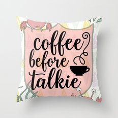 Coffee before Talkie - Coffee Lovers Cute Crabs Throw Pillow