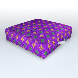 Mardi Gras Fleur de Lis Damask Pattern Outdoor Floor Cushion