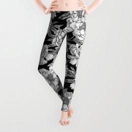 BLACK & WHITE PEONY FLORAL PRINT Leggings