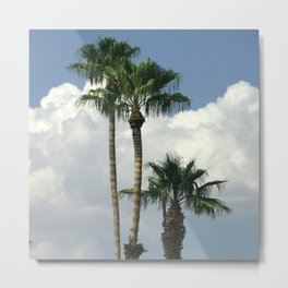 Palm Trees Floating in White Billowy Clouds Metal Print