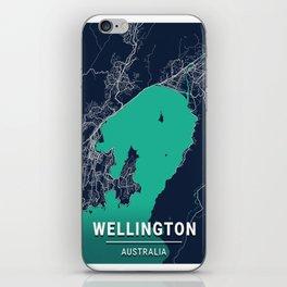 Wellington Blue Dark Color City Map iPhone Skin