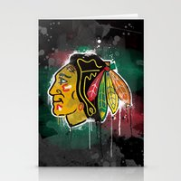 blackhawks Stationery Cards featuring chicago blackhawks hockey by abstract sports