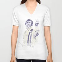 steve mcqueen V-neck T-shirts featuring Steve McQueen- King of Cool by Adam Doyle