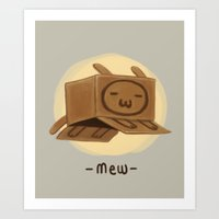 mew Art Prints featuring Mew by Cautionbeware