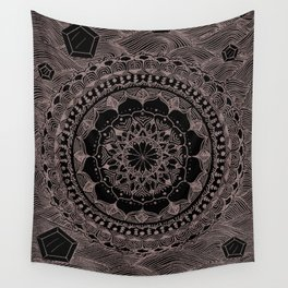 HAND DRAWN MANDALA 1 (BLACK AND WHITE FLOWER) Wall Tapestry