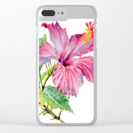 Tropical Pink Hibiscus Watercolor Clear iPhone Case