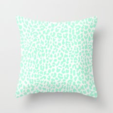 Pale Mint Leopard Throw Pillow