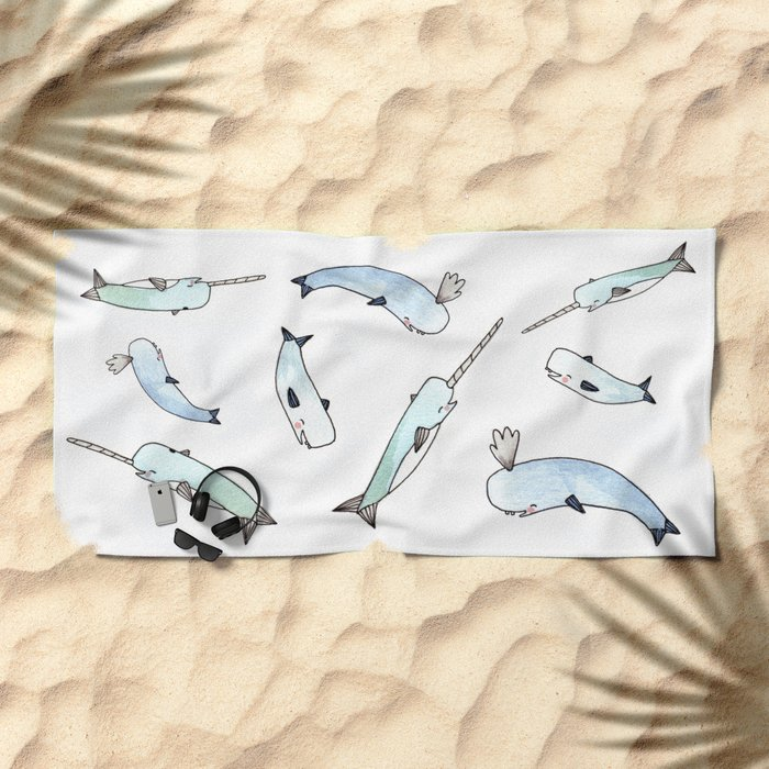 Narwhal Friends Beach Towel