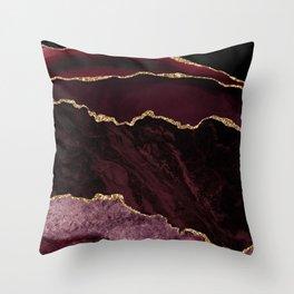 Burgundy & Gold Agate Texture 02 Throw Pillow