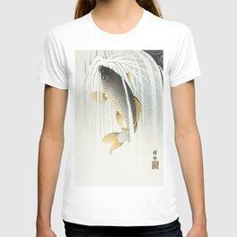 Fish swimming upstream  - Vintage Japanese Woodblock Print Art T-shirt