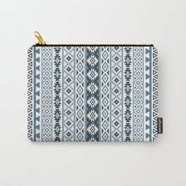 Aztec Stylized Pattern Gray-Blues & White Carry-All Pouch