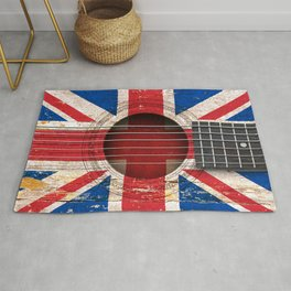 Old Vintage Acoustic Guitar with Union Jack British Flag Rug