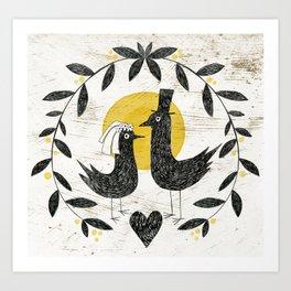 Folk Art Wedding Art Print