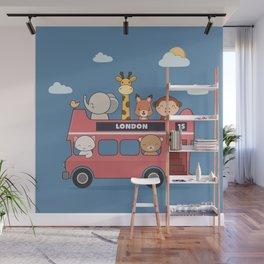 Kawaii Cute Zoo Animals On A London Bus Wall Mural