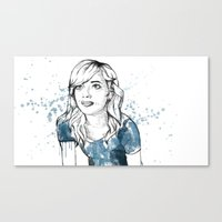 emma stone Canvas Prints featuring Emma by naidl
