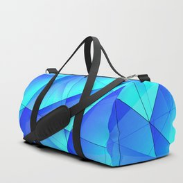 Abstract celestial pattern of blue and luminous plates of triangles and irregularly shaped lines. Duffle Bag