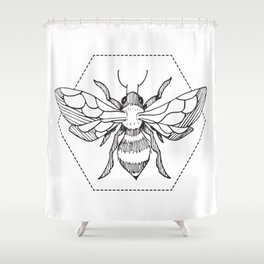 Pen&Ink Bee Tattoo Shower Curtain